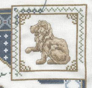 Fantasy Sampler Lion Border with Lion
